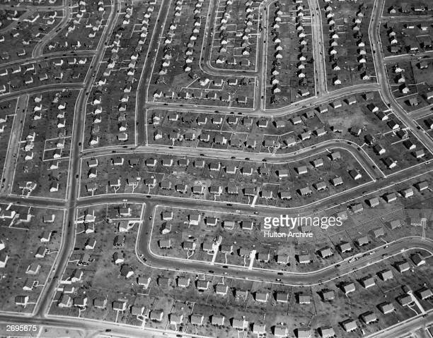 Aerial view of the suburb of Levittown New York The tract homes were originally built to provide affordable housing for World War II veterans