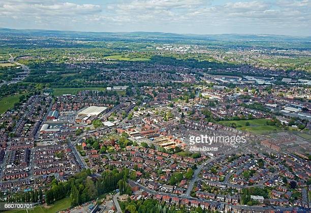 Aerial view of the suburbs of Manchester