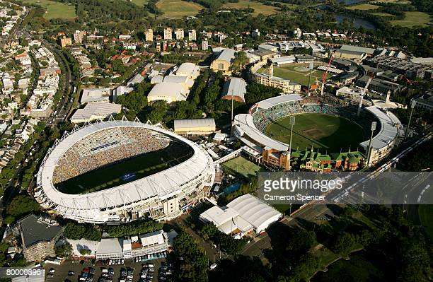 A aerial view of the Sydney Football Stadium and the Sydney Cricket Ground on February 24 2008 in Sydney Australia The Sydney Cricket Ground played...