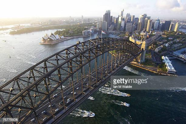 Aerial view of the Sydney Harbour Bridge, the Sydney Opera House and Sydney City Australia