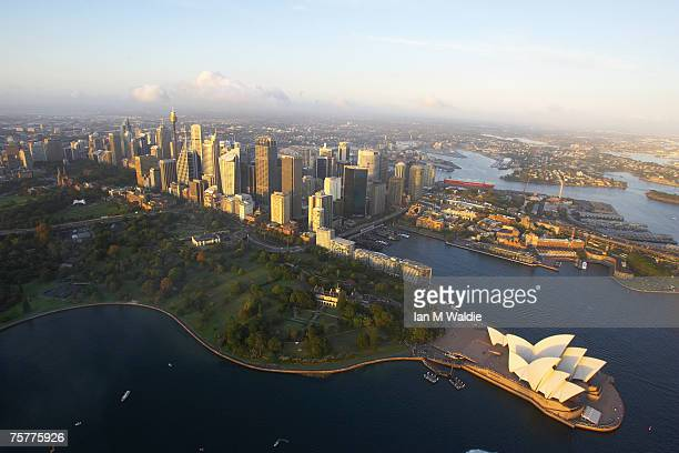 Aerial view of the Sydney Opera House and Sydney city