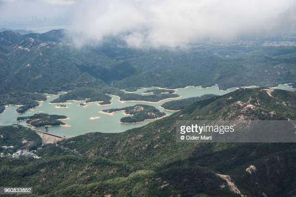 Aerial view of the Tai Lam Chung Reservoir in Hong Kong