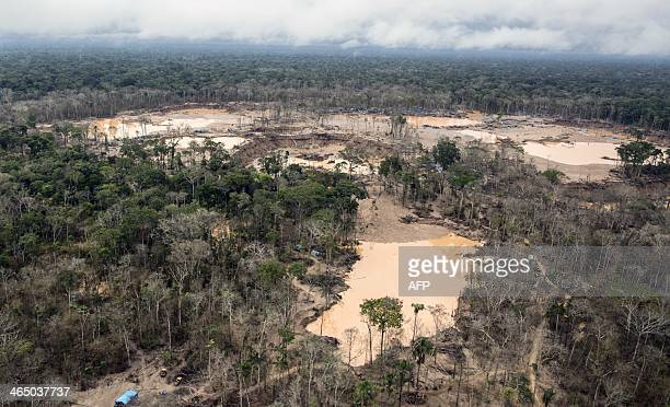 Aerial view of the tailings produced by illegal gold mining in Mega 13 Madre de Dios region Peru on January 25 during a police operation AFP PHOTO /...