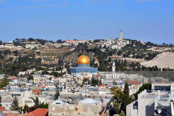 aerial view of the temple mount - jerusalem old city stock pictures, royalty-free photos & images