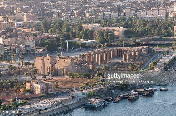 aerial view of the temple of luxor from a balloon flight, egypt - ancient egyptian culture stock photos and pictures