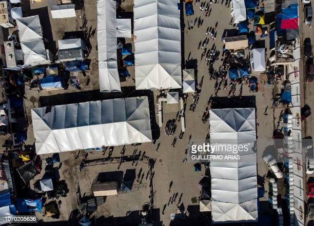 Aerial view of the temporary shelter for Central American migrants traveling with a caravan in eastern Tijuana Baja California state Mexico on...