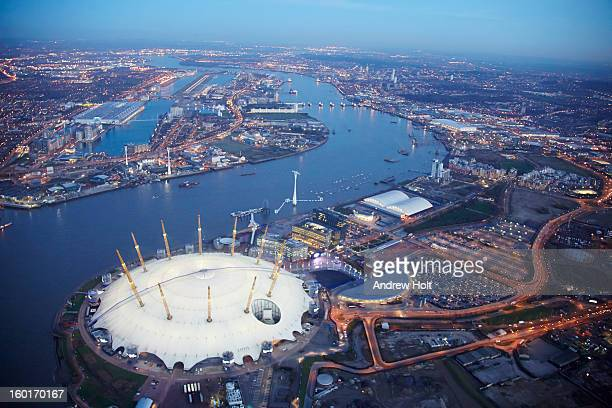 aerial view of the thames at canning town, london - the o2 england stock pictures, royalty-free photos & images