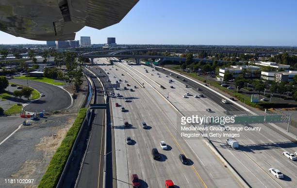 Aerial view of the The 405 Freeway near John Wayne Airport photographed during a media flight for the Great Pacific Airshow in Santa Ana CA on...