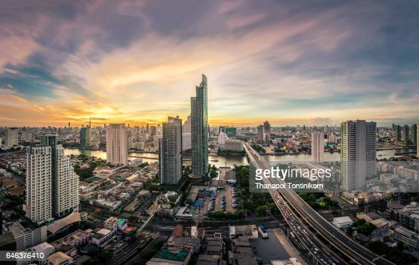Aerial View of the the Bangkok City in Thailand