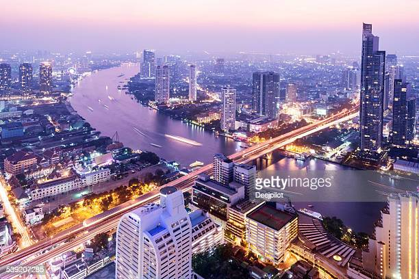 aerial view of the the bangkok skyline thailand - bangkok stock photos and pictures