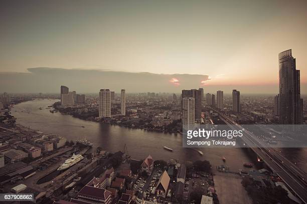 Aerial View of the the Bangkok Skyline Thailand