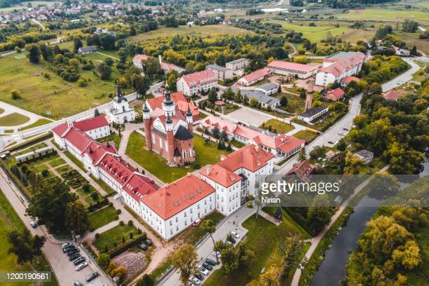 aerial view of the the monastery of the annunciation in suprasl - poland stock pictures, royalty-free photos & images