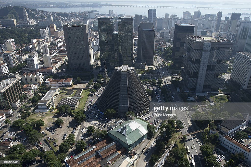 Aerial view of the The Rio de Janeiro's Cathedral, where Pope Francis is expected to lead a mass during his upcoming visit on May 10, 2013 in Rio de Janeiro, Brazil.