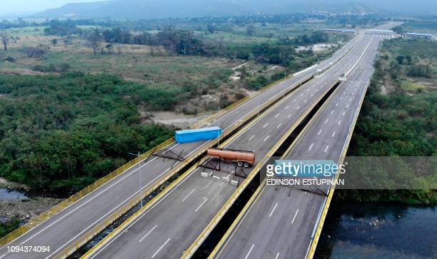 Aerial view of the Tienditas Bridge in the border between Cucuta Colombia and Tachira Venezuela after Venezuelan military forces blocked it with...