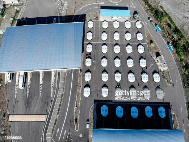 Aerial view of the Tienditas International Bridge in Cucuta Colombia on the border with Venezuela where tents have been set up for Venezuelans who...