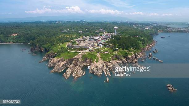 Aerial view of the Tojinbo, Fukui Prefecture, Japan
