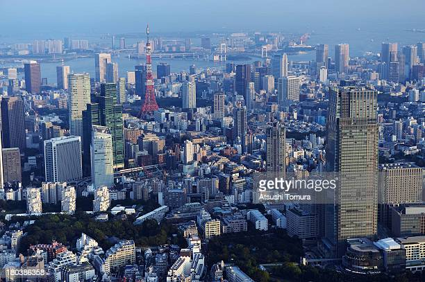 Aerial view of the Tokyo Tower and Tokyo bay area on September 12 2013 in Tokyo Japan Tokyo was selected as the site of the 2020 Olympics
