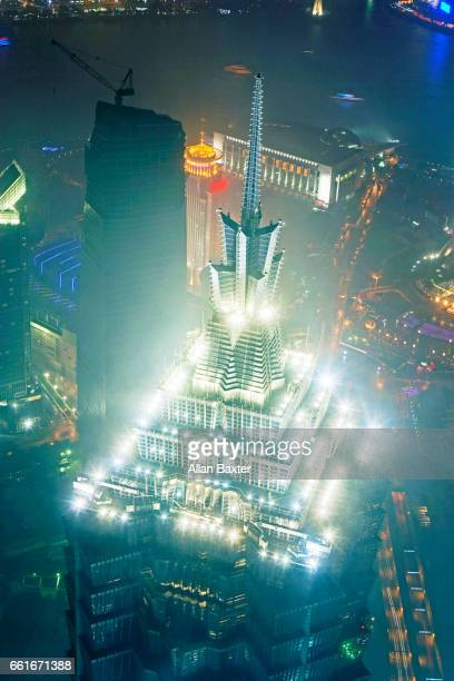 Aerial view of the top of the Jin Mao Tower