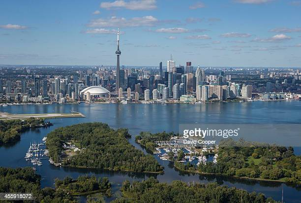 Aerial view of the Toronto Skyline from outside the Toronto harbour over Lake Ontario Skyline Aerial Toronto Harbour Downtown Core of Toronto