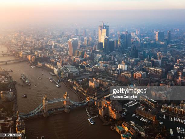 aerial view of the tower bridge and skyline of london - 2019 stock pictures, royalty-free photos & images
