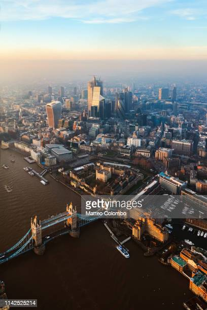 aerial view of the tower bridge and the city at sunset, london - 2019 stock pictures, royalty-free photos & images