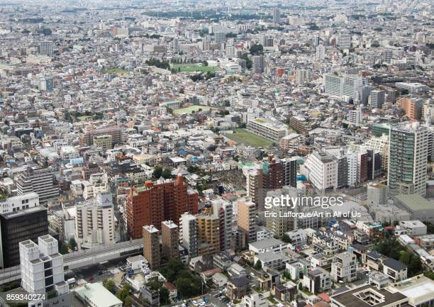 Aerial view of the town, Kanto region, Tokyo, Japan on September 3, 2017 in Tokyo, Japan.