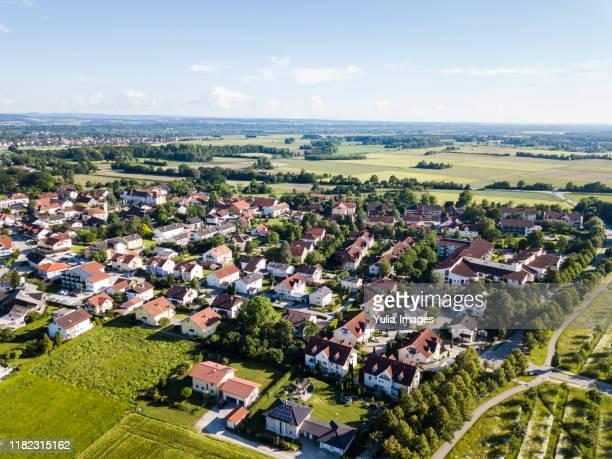 aerial view of the town of bad fussing - kleinstadt stock-fotos und bilder