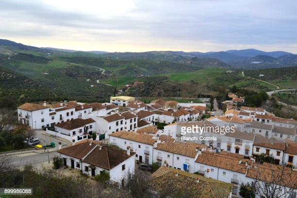 Aerial view of the town of Zahara de La Sierra in Cadiz
