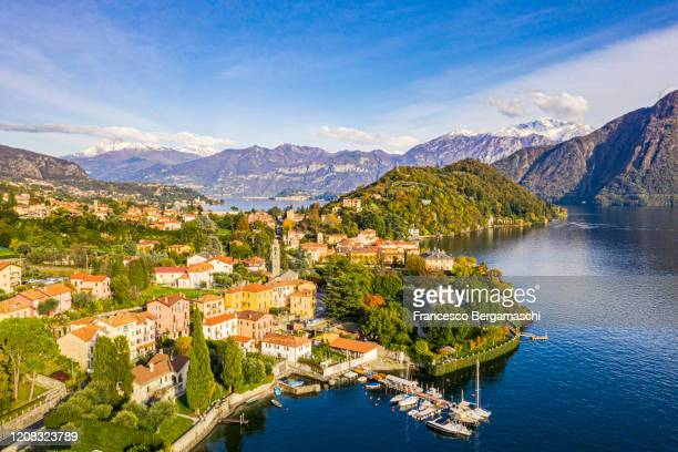 aerial view of the traditional village of lenno. - como italy stock pictures, royalty-free photos & images