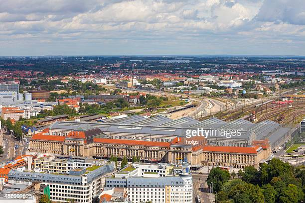 Aerial view of the Train Station in Leipzig, Germany