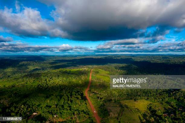 TOPSHOT Aerial view of the Transamazonica Road near Medicilandia Para State Brazil on March 13 2019 According to the NGO Imazon deforestation in the...