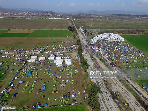 Aerial view of the transit camp on the GreekFYROM border on March 01 2016 in Idomeni Greece More than 7000 immigrants and refugees are waiting in...