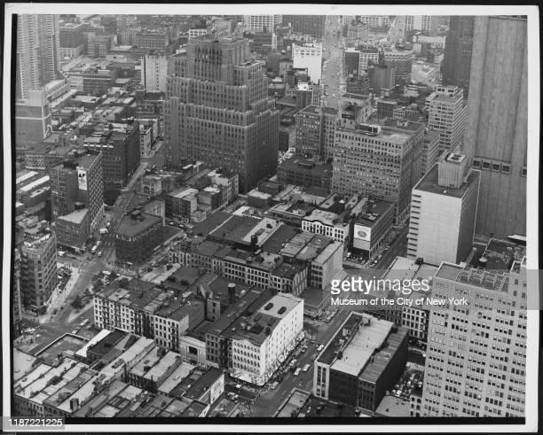 Aerial view of the TriBeCa neighborhood, New York, New York, circa 1975.