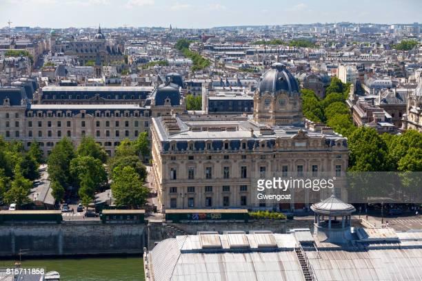 aerial view of the tribunal de commerce de paris - university of paris stock photos and pictures
