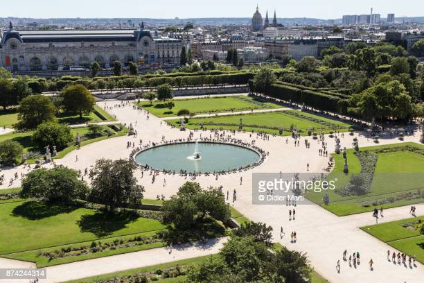 Aerial view of the Tuileries garden near the Louvre Palace in Paris