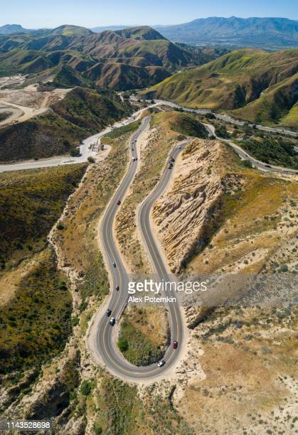 Aerial view of the twisty mountain highway Grimes Canyon Road nearby Moorpark, California.
