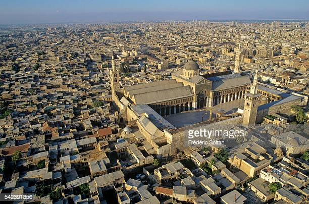 Aerial view of the Umayyad Mosque also known as the Grand Mosque of Damascus