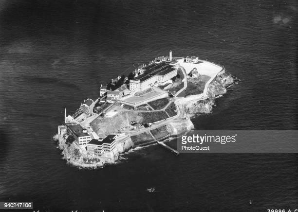 Aerial view of the United States Disciplinary Barracks on Alcatraz Island, San Francisco, California, July 6, 1934. It was acquired by the United...