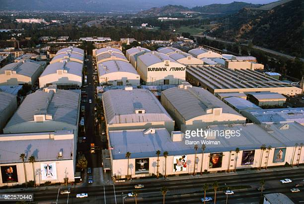 Aerial view of the Universal Studios, Warner Bros., Burbank, CA, United States, circa 1970s.
