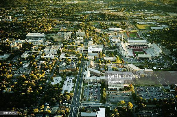 Aerial view of the University of Arkansas campus on October 14, 2006 in Fayetteville, Arkansas.