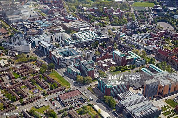 aerial view of the university of manchester - manchester england stock pictures, royalty-free photos & images
