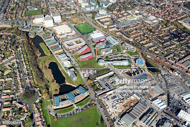aerial view of the university of nottingham, jubilee campus - nottingham stock photos and pictures