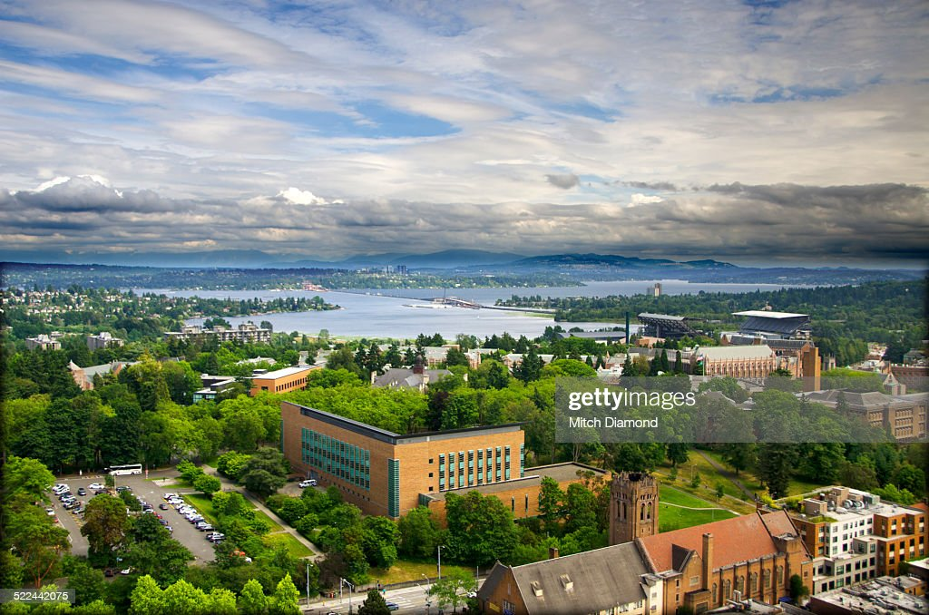Aerial view of the University of Washington : Stock Photo