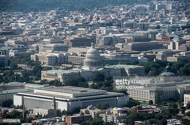 Aerial view of the US Capitol in Washington on September 12 2014 AFP PHOTO/Nicholas KAMM