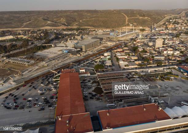 Aerial view of the USMexico border and the El Caparral crossing port seen from Tijuana Baja California state on January 11 2019