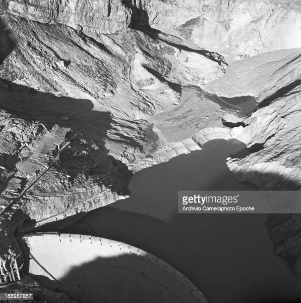 Aerial view of the Vajont Dam and basin Piave Valley Italy early October 1963 On October 9 a landslide in the dam basin caused a wave more than 800...