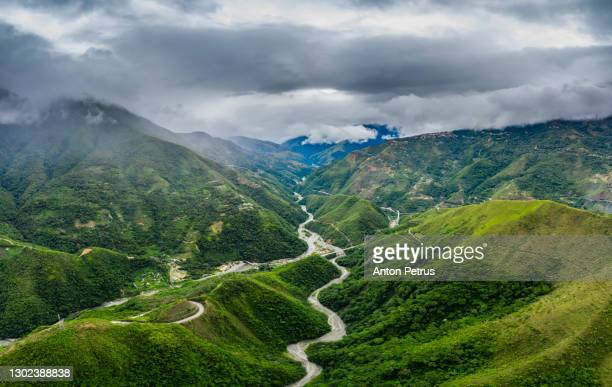 aerial view of the valley in north yungas, bolivia. rain season - ボリビア ストックフォトと画像