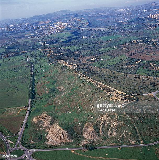 Aerial view of the Valley of the Temples Agrigento Sicily Italy