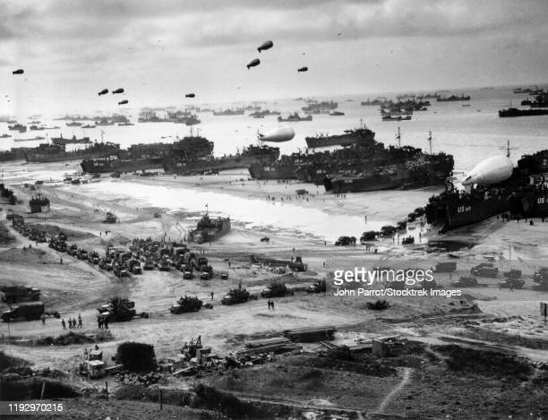 aerial view of the various naval vessels around the beaches of normandy in northernmost france. - d day stock pictures, royalty-free photos & images