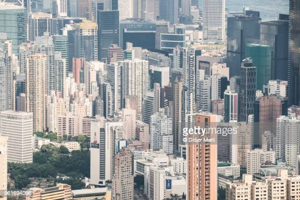 Aerial view of the very crowded and mixed residential and business district of Wan Chai in Hong Kong island